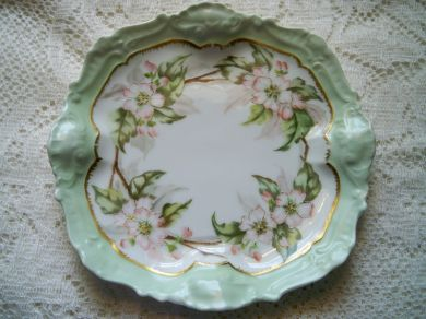 Antique Limoges France Hand Painted Apple Blossom Porcelain Plate