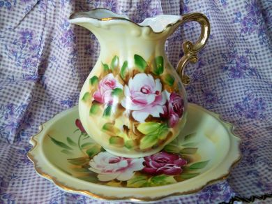 Vintage Pink Roses Pitcher And Bowl Japan