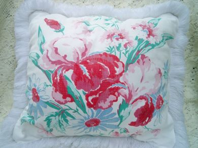 Vintage Springmaid Tablecloth Pillow Handmade