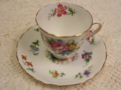 Vintage Tuscan China Bouquet Demitasse Footed Teacup and Saucer