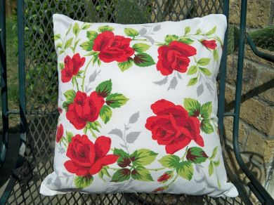 Vintage Wilendur Red Roses Tablecloth Pillow Handmade